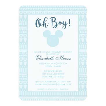 disney Mickey | Blue Aztec Baby Shower Card