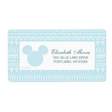 Aztec Themed Mickey | Blue Aztec Baby Shower Label