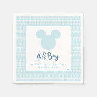 Mickey | Blue Aztec Baby Shower Paper Napkin