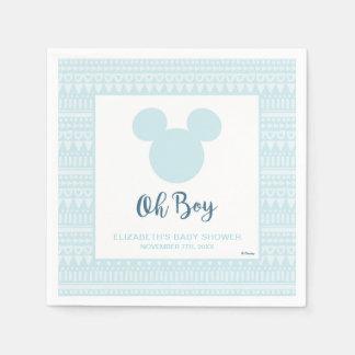 Mickey | Blue Aztec Baby Shower Paper Napkin