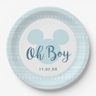 Mickey | Blue Aztec Baby Shower Paper Plate