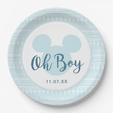 Aztec Themed Mickey | Blue Aztec Baby Shower Paper Plate