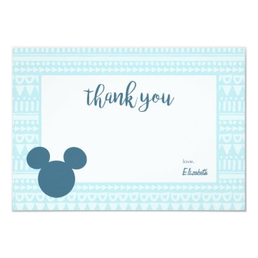 Aztec Themed Mickey | Blue Aztec Baby Shower - Thank You Card