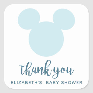 Mickey | Blue Aztec Baby Shower - Thank You Square Sticker
