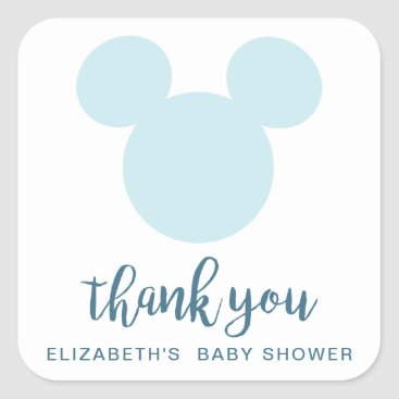 Aztec Themed Mickey | Blue Aztec Baby Shower - Thank You Square Sticker