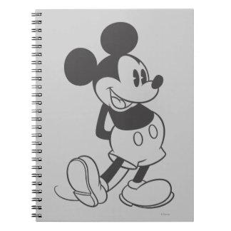 Mickey clásico el | blanco y negro spiral notebook