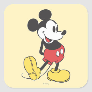 Mickey clásico pegatina cuadrada