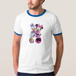 Men's Basic Ringer T-Shirt with Daisy Duck and Minnie Mouse BFF Best Friends Forever design