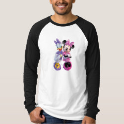 Men's Canvas Long Sleeve Raglan T-Shirt with Daisy Duck and Minnie Mouse BFF Best Friends Forever design