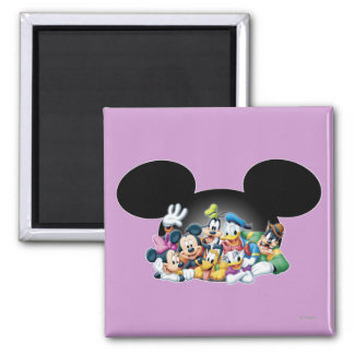 Mickey & Friends | Group in Mickey Ears 2 Inch Square Magnet