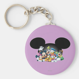Mickey & Friends | Group in Mickey Ears Basic Round Button Keychain