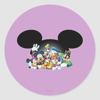 Mickey & Friends | Group in Mickey Ears Classic Round Sticker