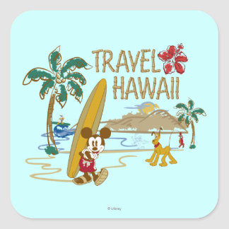 Mickey & Friends   Hawaii Square Sticker