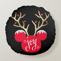 Round Throw Pillow (16') with Disney Christmas Ornaments design