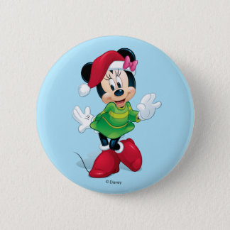 Mickey & Friends | Minnie Dressed For Christmas Button