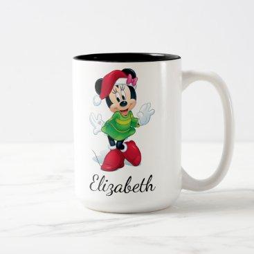 Christmas Themed Mickey & Friends | Minnie Dressed For Christmas Two-Tone Coffee Mug