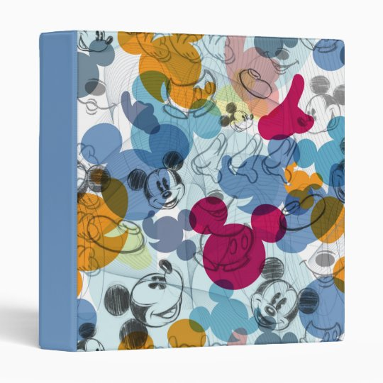 Mouse Head Sketch Pattern 3 Ring Binder