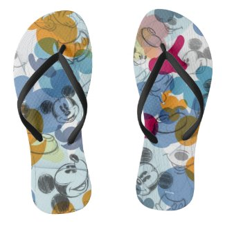 Mickey & Friends | Mouse Head Sketch Pattern Flip Flops