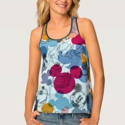 Women's All-Over Print Racerback Tank Top with Mickey Mouse Patterns design