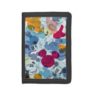 Mickey & Friends   Mouse Head Sketch Pattern Trifold Wallet