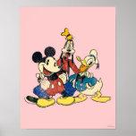 Mickey & Friends | Vintage Mickey, Goofy, Donald Poster