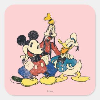 Mickey & Friends | Vintage Mickey, Goofy, Donald Square Sticker