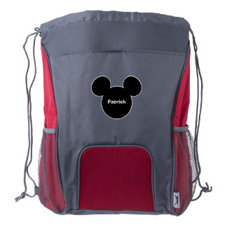 Mickey Head Black Drawstring Backpack