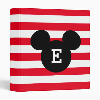 Mickey Head Silhouette Striped Pattern | Monogram 3 Ring Binder