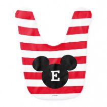 Mickey Head Silhouette Striped Pattern | Monogram Baby Bib