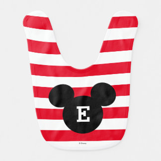 Mickey Head Silhouette Striped Pattern | Monogram Baby Bib