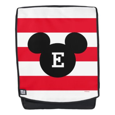 Disney Themed Mickey Head Silhouette Striped Pattern | Monogram Backpack