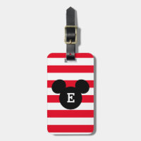 Mickey Head Silhouette Striped Pattern | Monogram Bag Tag