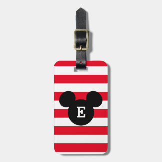 Mickey Head Silhouette Striped Pattern | Monogram Bag Tag