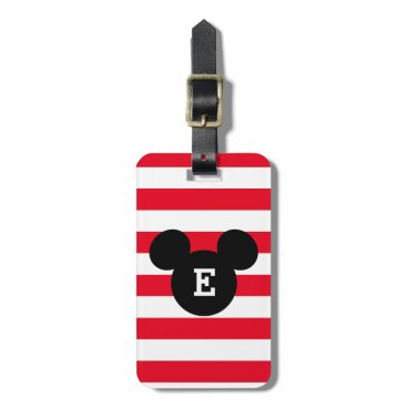 MickeyAndFriends Mickey Head Silhouette Striped Pattern | Monogram Bag Tag