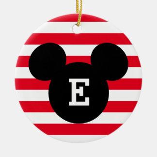 Mickey Head Silhouette Striped Pattern | Monogram Ceramic Ornament