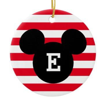 Disney Themed Mickey Head Silhouette Striped Pattern | Monogram Ceramic Ornament