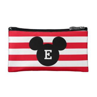 Mickey Head Silhouette Striped Pattern   Monogram Cosmetic Bag
