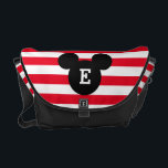 "Mickey Head Silhouette Striped Pattern | Monogram Courier Bag<br><div class=""desc"">Customize this Mickey Mouse Head Silhouette with your monogram.</div>"