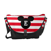 Mickey Head Silhouette Striped Pattern | Monogram Courier Bag
