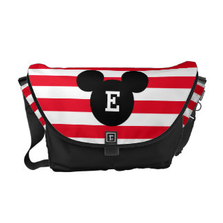 Mickey Head Silhouette Striped Pattern   Monogram Courier Bag