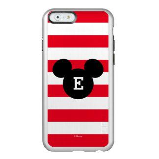 Mickey Head Silhouette Striped Pattern | Monogram Incipio Feather® Shine iPhone 6 Case