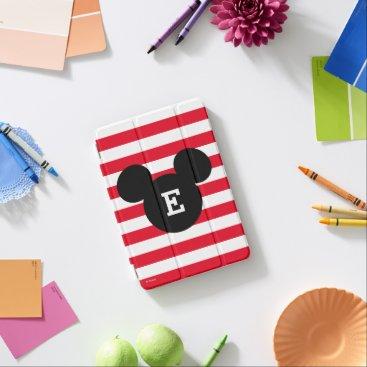 Disney Themed Mickey Head Silhouette Striped Pattern | Monogram iPad Mini Cover
