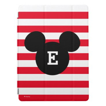 Disney Themed Mickey Head Silhouette Striped Pattern | Monogram iPad Pro Cover
