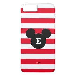 Mickey Head Silhouette Striped Pattern | Monogram iPhone 7 Plus Case