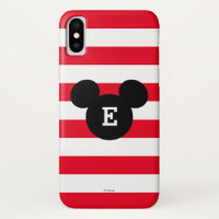 Mickey Head Silhouette Striped Pattern | Monogram iPhone X Case