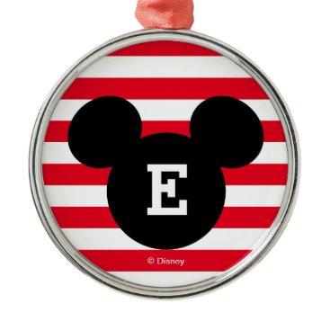 Disney Themed Mickey Head Silhouette Striped Pattern | Monogram Metal Ornament