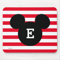 Mickey Head Silhouette Striped Pattern | Monogram Mouse Pad