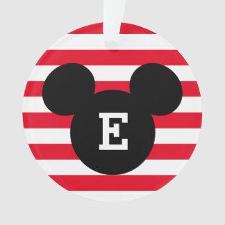 Mickey Head Silhouette Striped Pattern | Monogram Ornament
