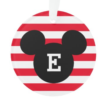 Disney Themed Mickey Head Silhouette Striped Pattern | Monogram Ornament
