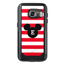 Mickey Head Silhouette Striped Pattern | Monogram OtterBox Samsung Galaxy S7 Case